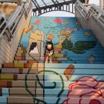 アート階段のアングルあれこれ 中川駅前の新たな撮影スポットに!