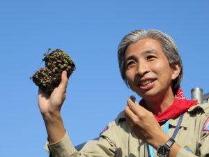 都市大の飯島教授によるガーデンに植えられている草木についての説明