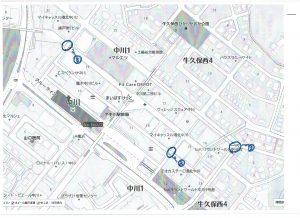 商業地区横断歩道の安全点検調査をしました