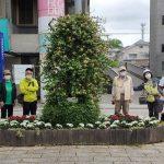 花壇のテーマは「コロナに負けるな日本」